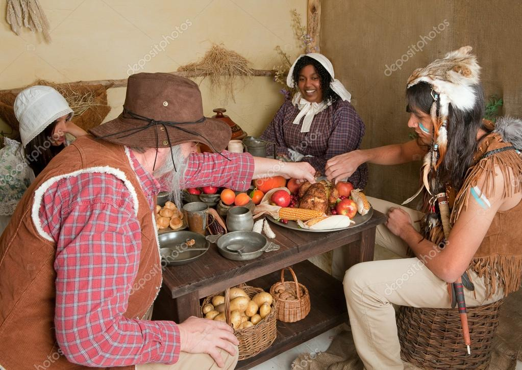 Thanksgiving pilgrims eating stock photo klanneke for What did they eat at the first thanksgiving