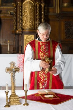 Priest during mass