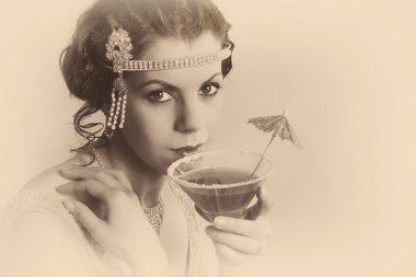 1920s vintage woman in sepia