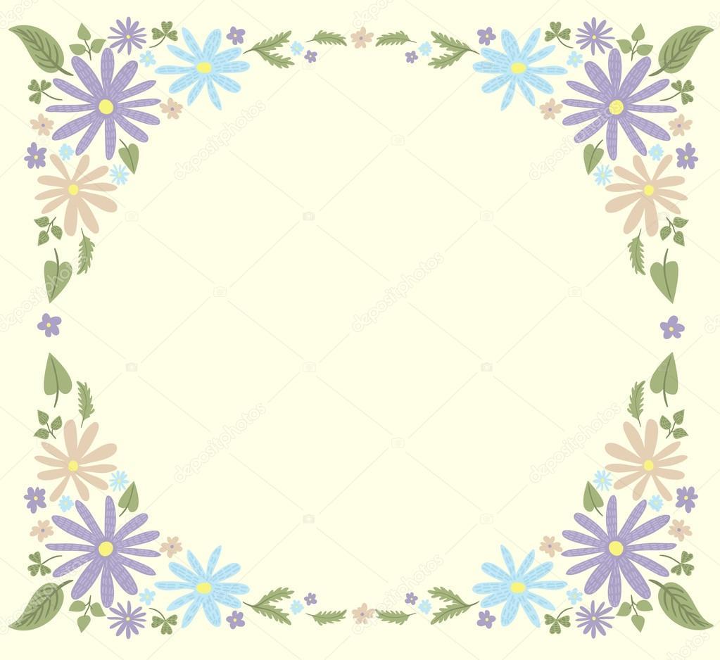 plantilla de marco flores pequeñas lindo 1 — Archivo Imágenes ...
