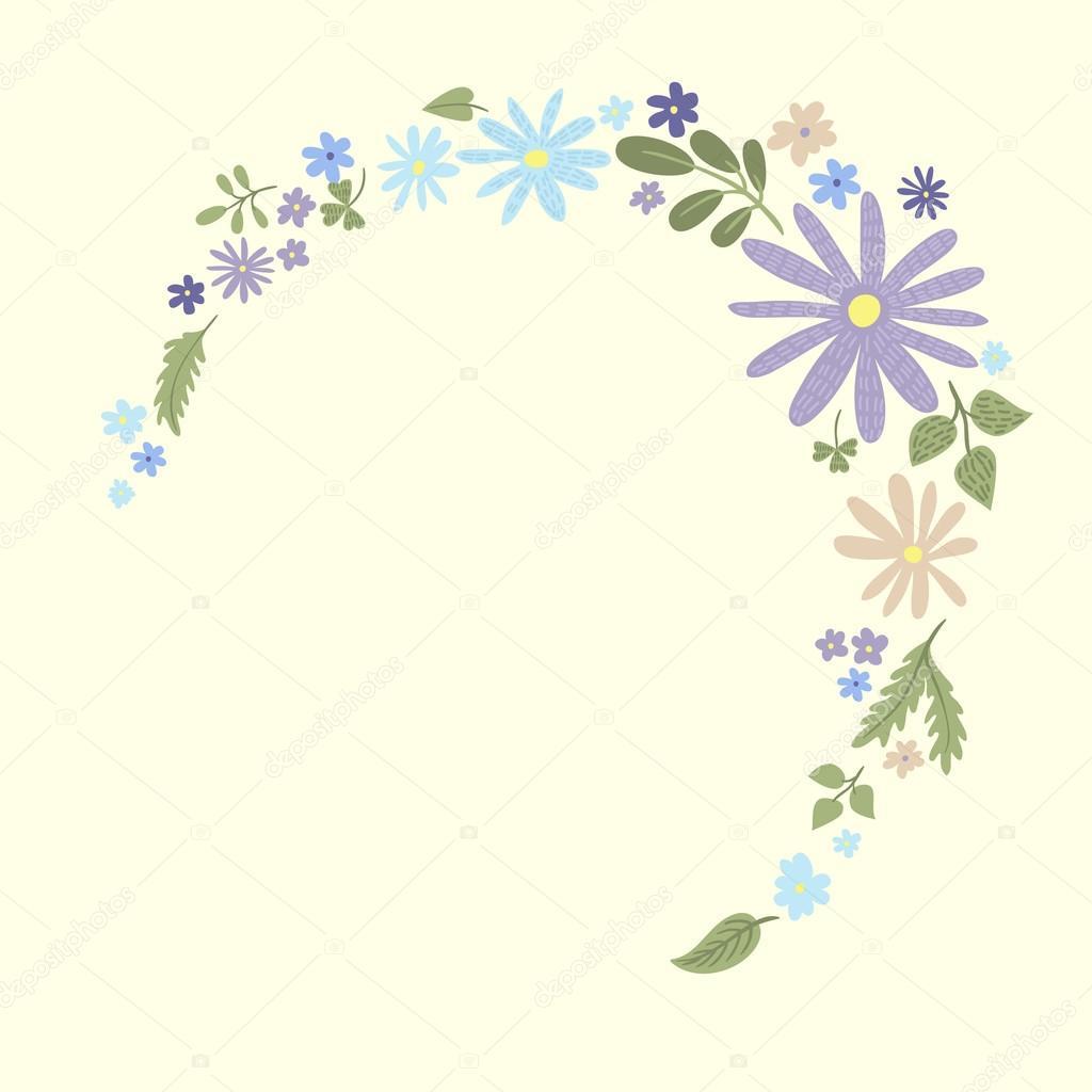 plantilla de marco flores pequeñas linda 3 — Vector de stock ...
