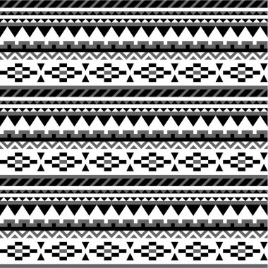 Seamless aztec pattern in black and white 3