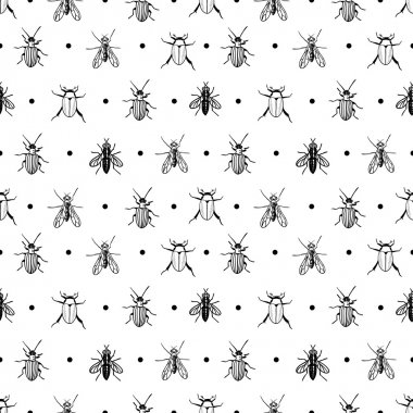 Seamless pattern with dots and insects