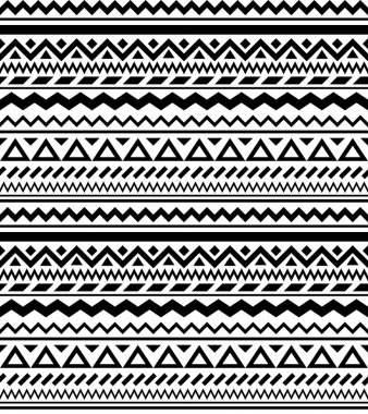 Seamless geometric ethnic pattern in black and white
