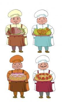 set of four cooks