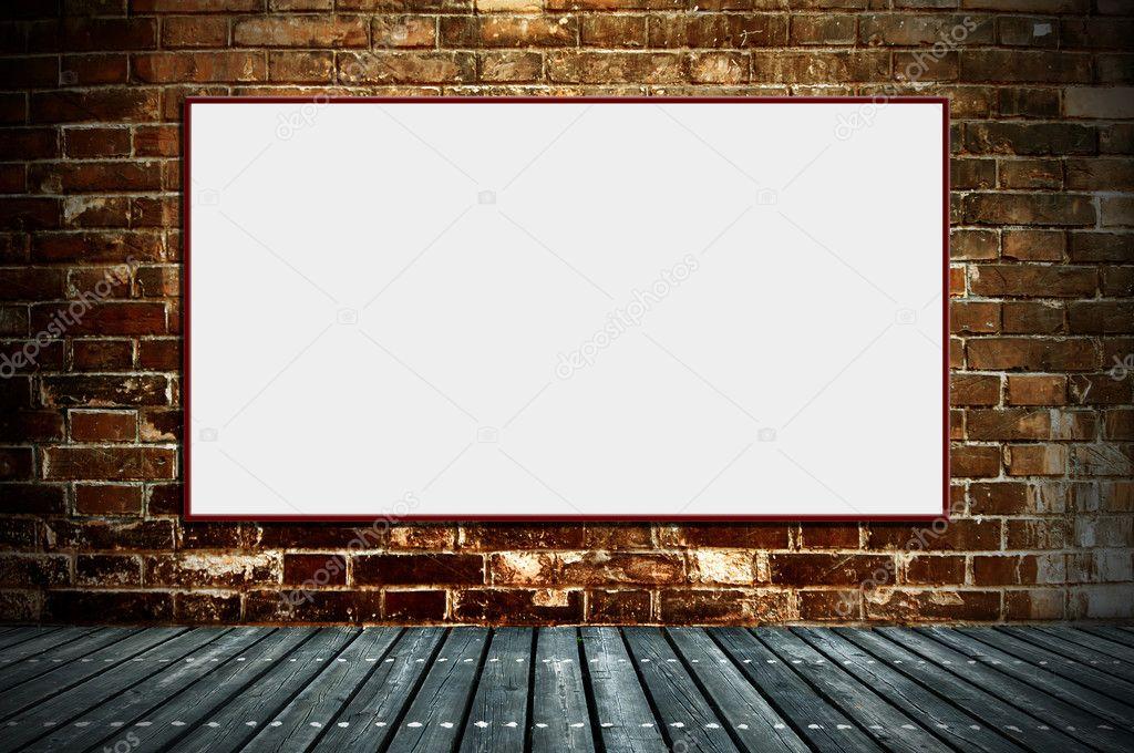 Blank billboard on the old walls