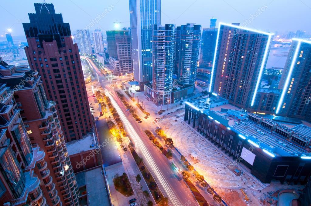 Фотообои Bird view at Shanghai China. Skyscraper under construction in fo