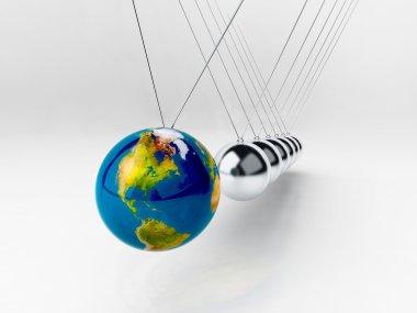 Balancing balls Newton's cradle (earth in motion)