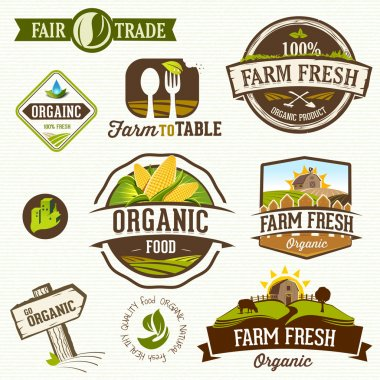 Set of Fresh Organic labels and elements stock vector