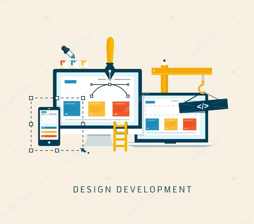 Designing a website or application. Flat style vector design.