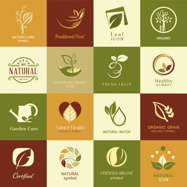 Set of icons and symbols for nature health and organic. Leaf elements on a colored background. stock vector