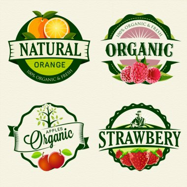 Set of retro Fresh & Organic labels. stock vector