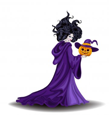 Beautiful witch with pumpkin in Halloween day
