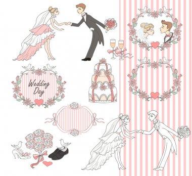 Wedding graphic set, Scrapbook design elements