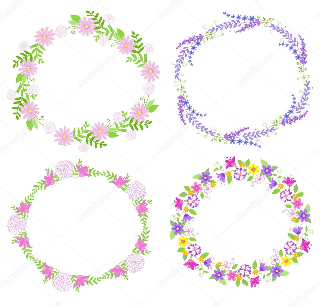 Set of frames and spring icons