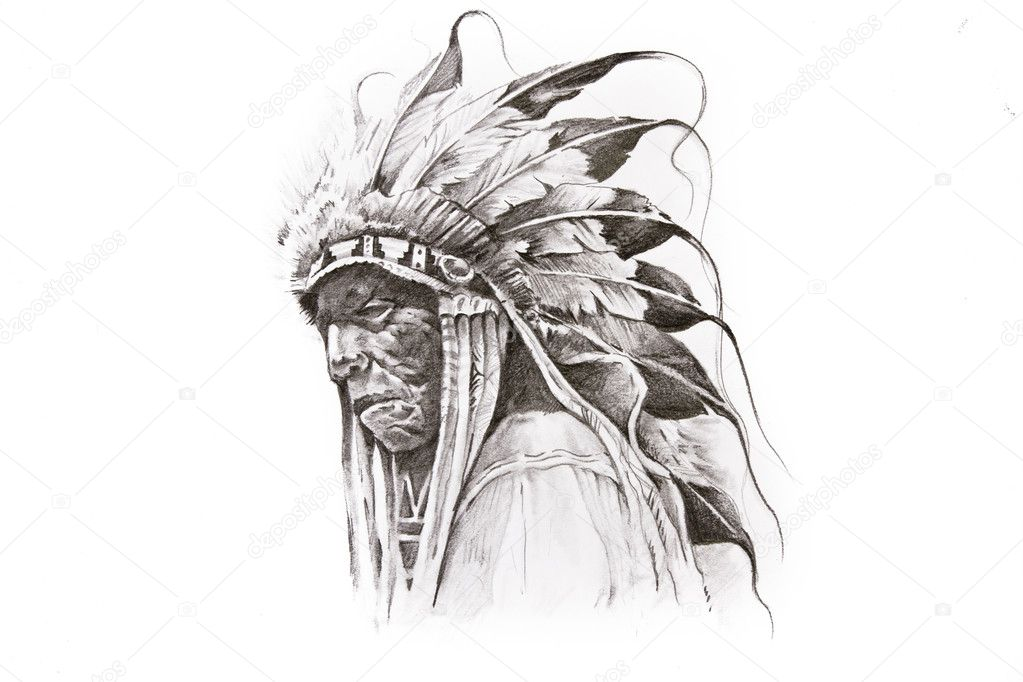 Tattoo Sketch Of Native American Indian Warrior Hand Made Stock
