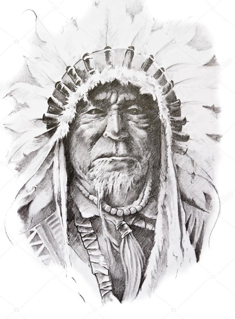 Croquis De Tatouage croquis de tatouage amérindien main chef, indienne — photographie