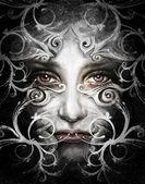 Fotografie ilustrace skica ženy s maskou arabeska, s dig