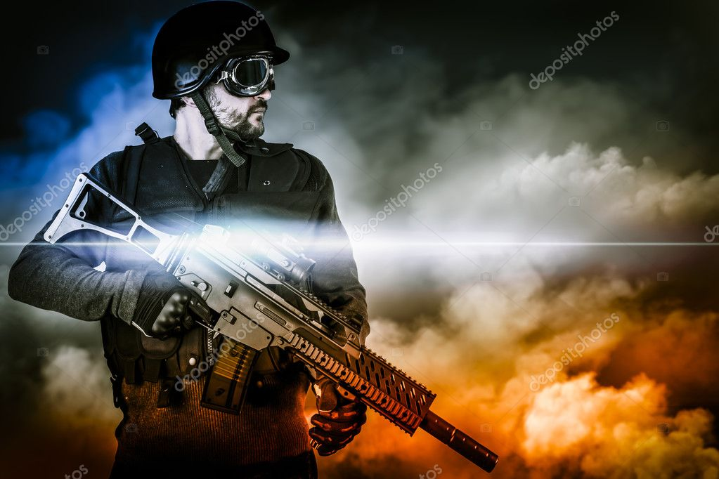 Assault soldier with rifle on apocalyptic clouds stock vector