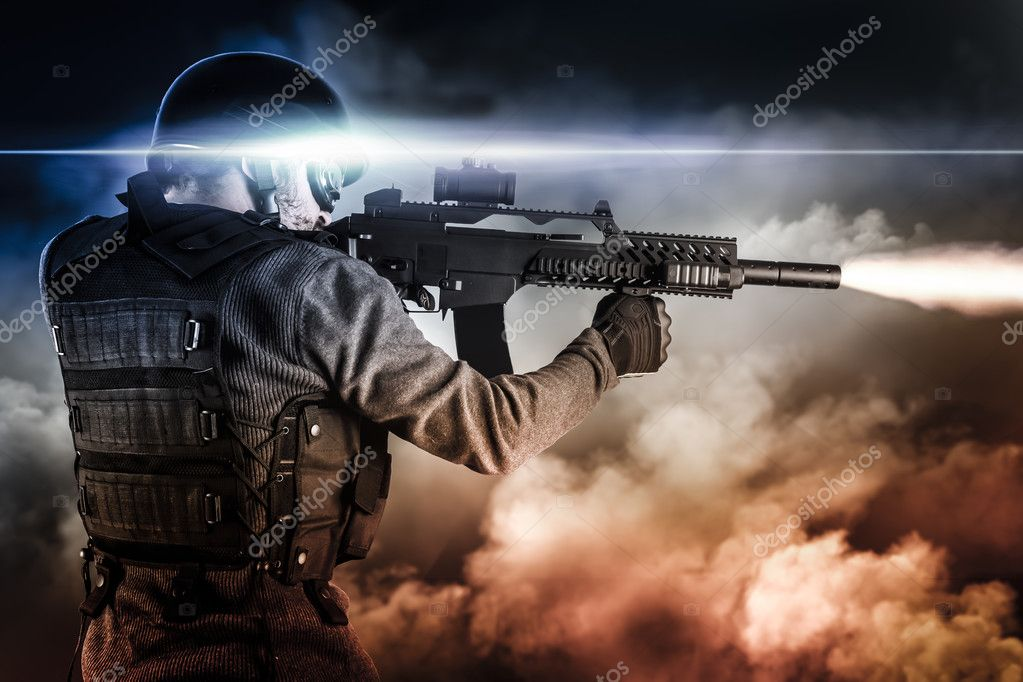 Assault soldier with rifle on apocalyptic clouds, firing stock vector