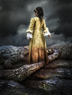 Medieval young girl surrounded by crocodiles