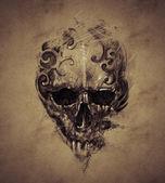 koponya tetoválást vintage papír, kézzel készített design