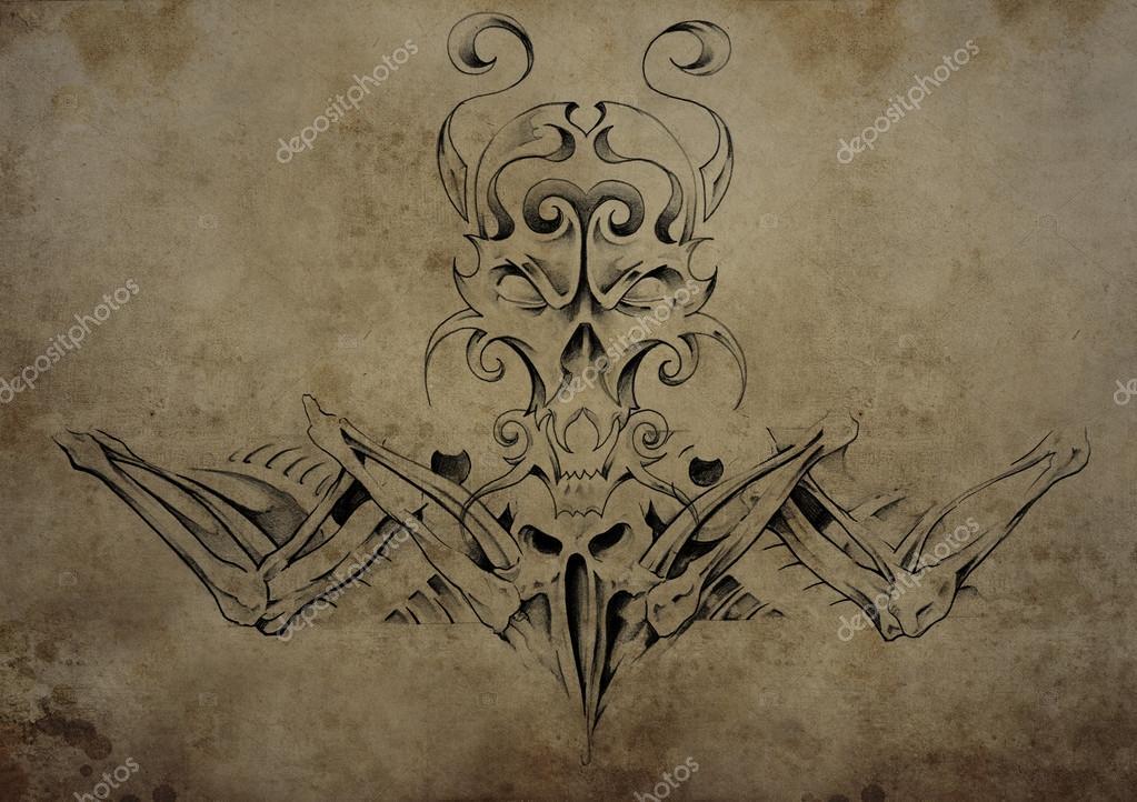 Tatuaż Czaszki Na Wzór Papieru Czarny Plemienne Tatuaże Zdjęcie