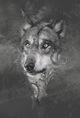 Wolf illustration.