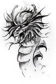 Fotografia testa di drago, schizzo del tatuaggio