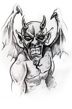Gargoyle, sketch of tattoo
