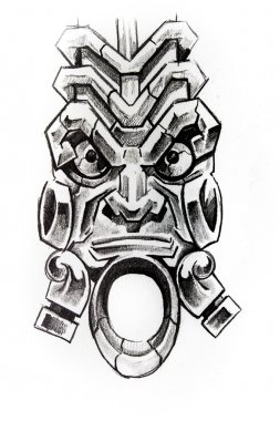 American indian totem, sketch of tattoo