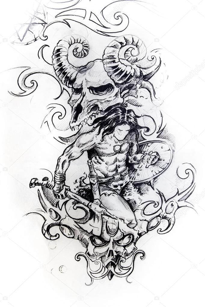 Viking Warrior Sketch Of Tattoo — Stock Photo