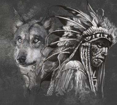 Wolf and american indian chief.