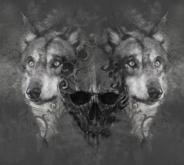 Wolf illustration with skull.
