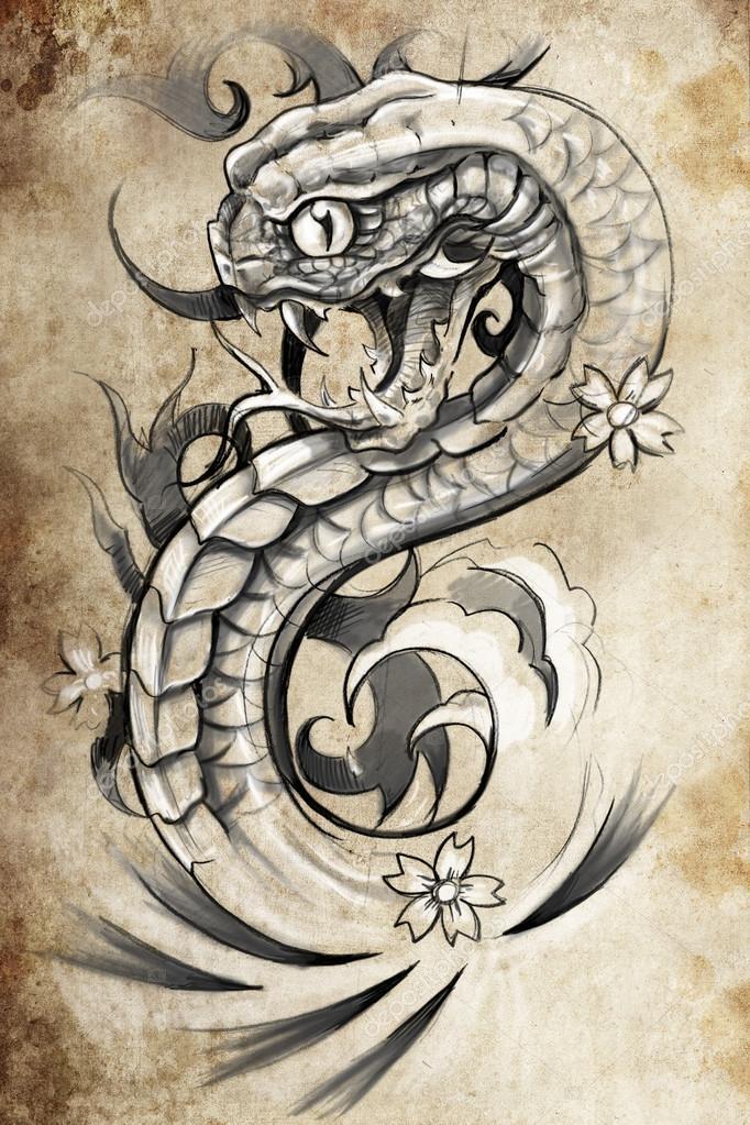 Illustration De Tatouage De Serpent Photographie Outsiderzone
