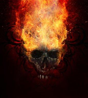 Burning skull.