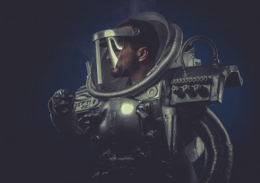 Robot man in space armor