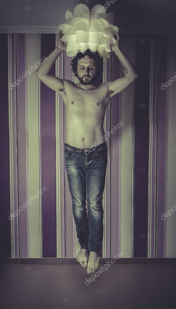 Man Floating In The Air Stock Photo