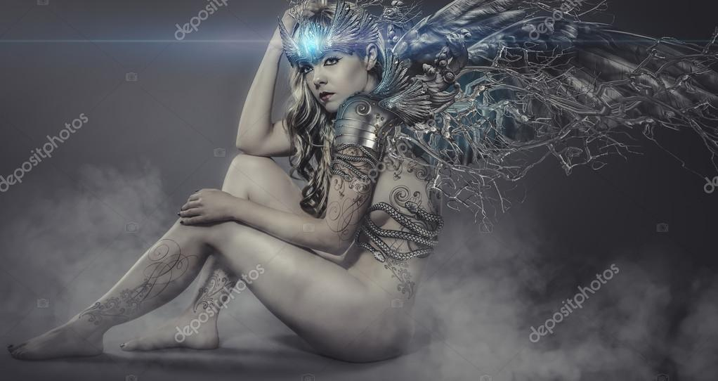 Woman with iron and metal wings