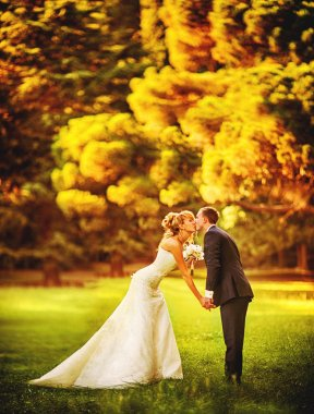 Newlyweds kissing in autumn park