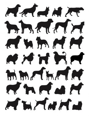 Many Dog Species in silhouettes clip art vector
