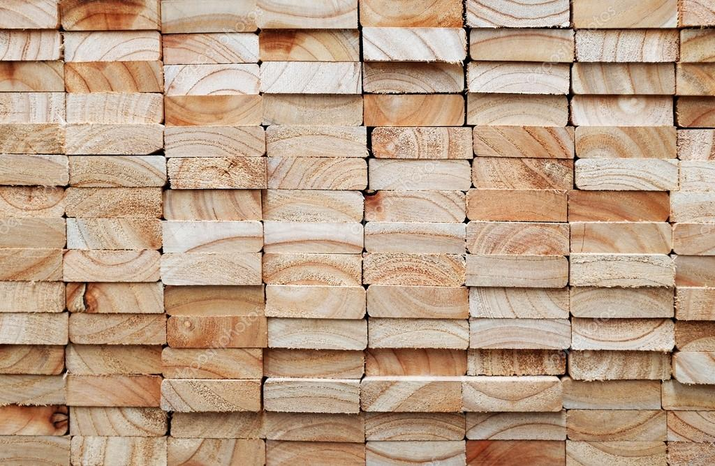 Stack of square wood planks