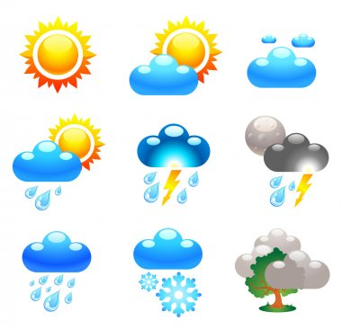Symbols which represent weather conditions stock vector