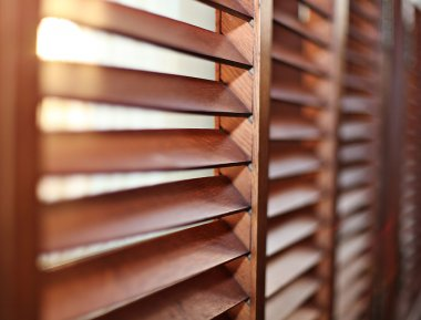 Close up of wooden window shutters