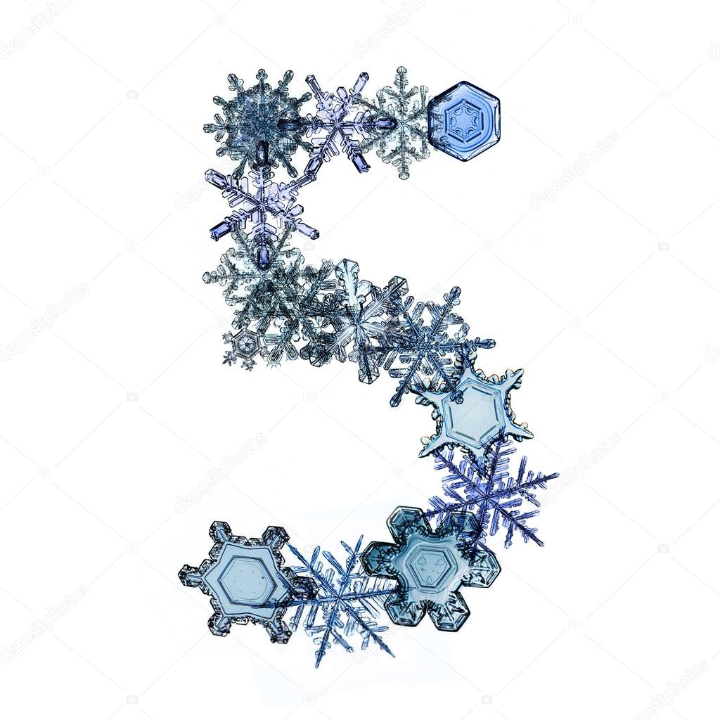 font from snowflakes and ice crystals
