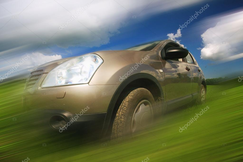 Car in motion blur speed