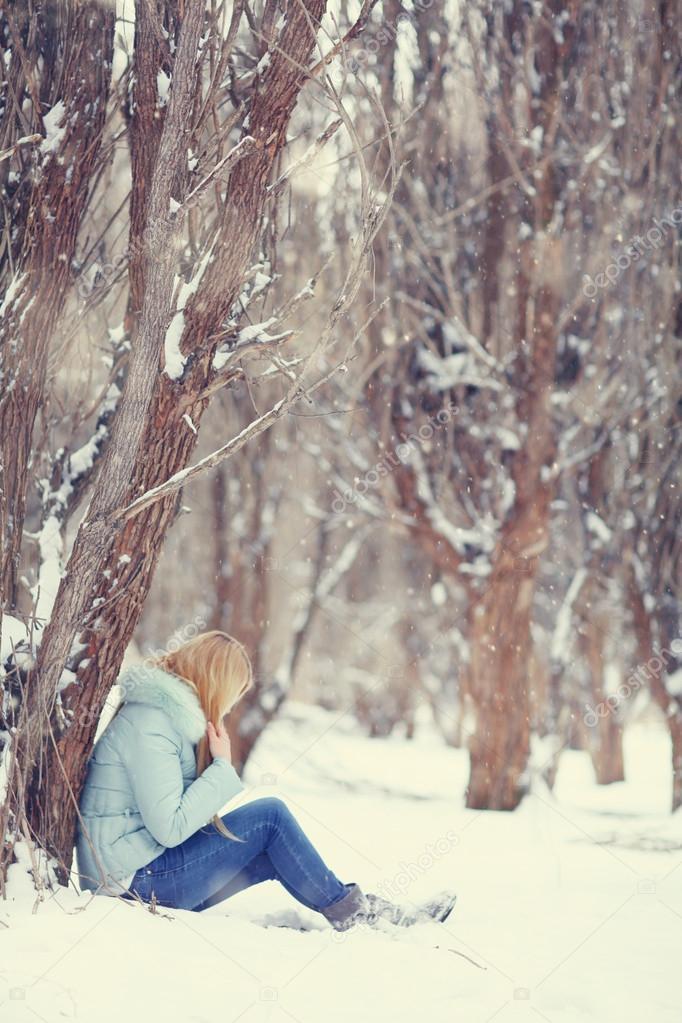 Woman in winter park