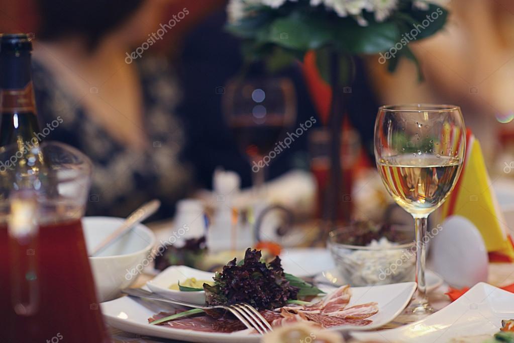 Restaurant serving champagne glasses