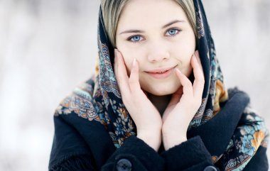 Blond woman with traditional shawl