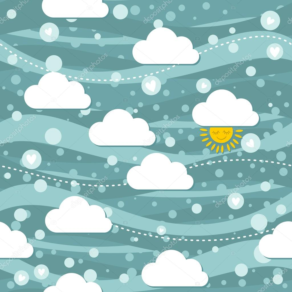 Sunny winter sky with falling hearts seamless pattern